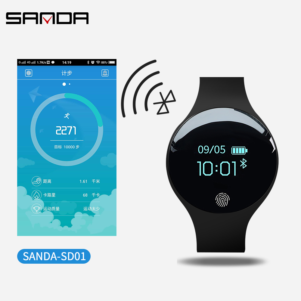 SANDA Smart Watch Women bracelet Smart Watches with Touch Screen Camera Calorie Pedometer Fitness Watches for Apple IOS Android