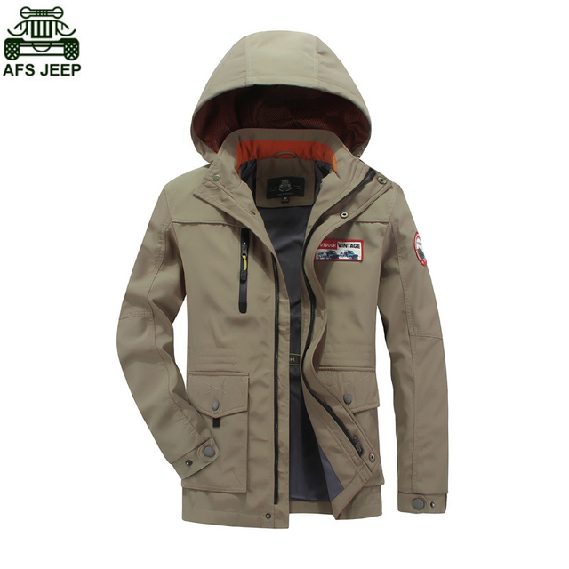 AFS JEEP Brand Men Soft Shell Jacket Windproof Camping Hiking Outdoor Climbing Fishing Clothing Hunting Clothes