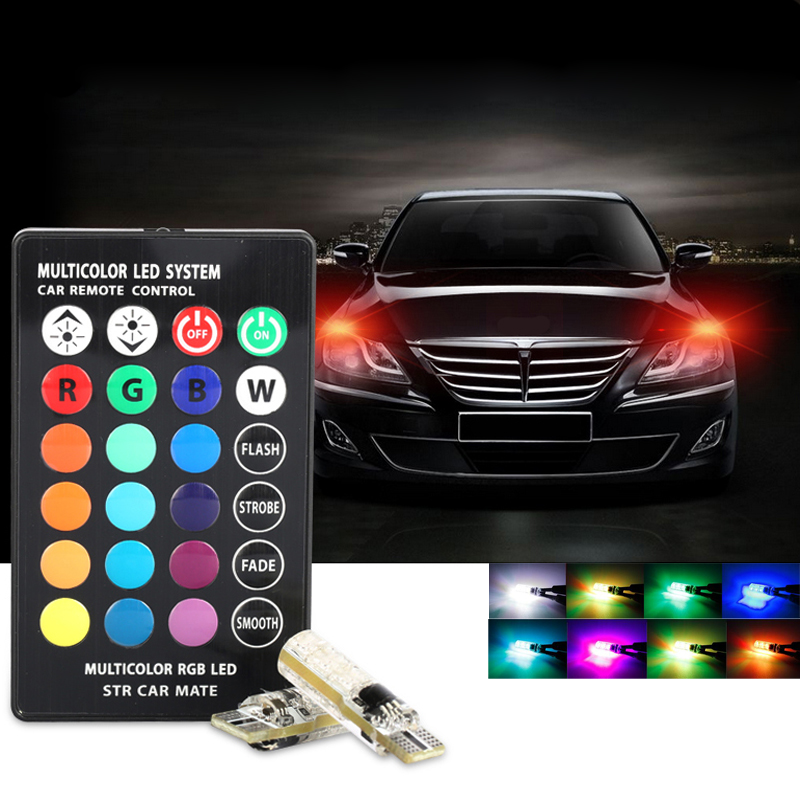 Online Shopping Mazda 323 Light: T10 RGB LED Bulbs Remote Controller Car Wedge Side Light