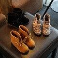 2016 Niños de La Manera zapatos de invierno botas de leopardo de las muchachas niños nieve botas tobillo botas para niñas zapatos de invierno