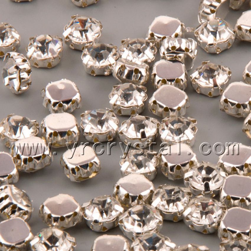 YANRUO #1100S All Sizes Clear With Silver Claw Setting Sew On Glass Stones Crystal Fancy Strass Rhinestone For Garments