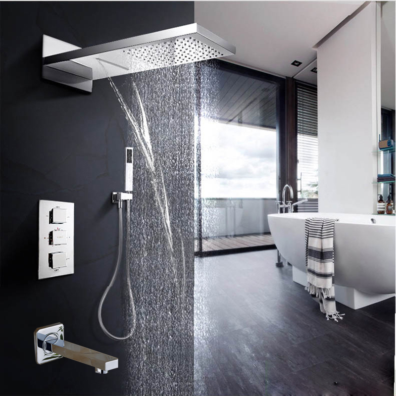 waterfall rainfall shower head faucets thermostatic valve mixer tap hand  shower sprayer 670c985cf49f