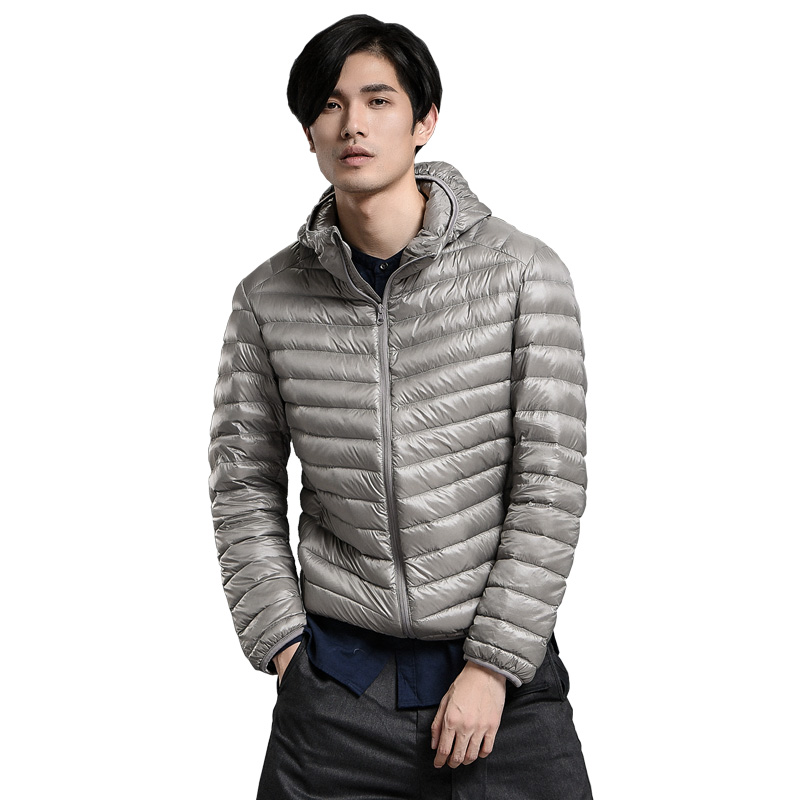 New Spring Autumn Fashion Light Thin Hooded   Down     Coats   Men 90% White Duck   Down     Coat   Casual Solid Full Sleeve Jackets Man Mw382