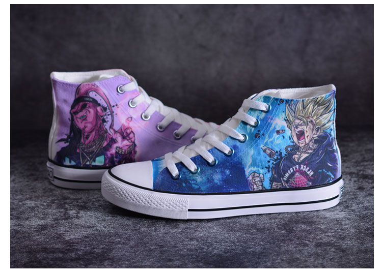 28141c95c WHOHOLL Hombre Causal Vulcanize Shoes Japanese Anime Print Shoes Moda  Hombre Lienzo Graffiti Goku Flat
