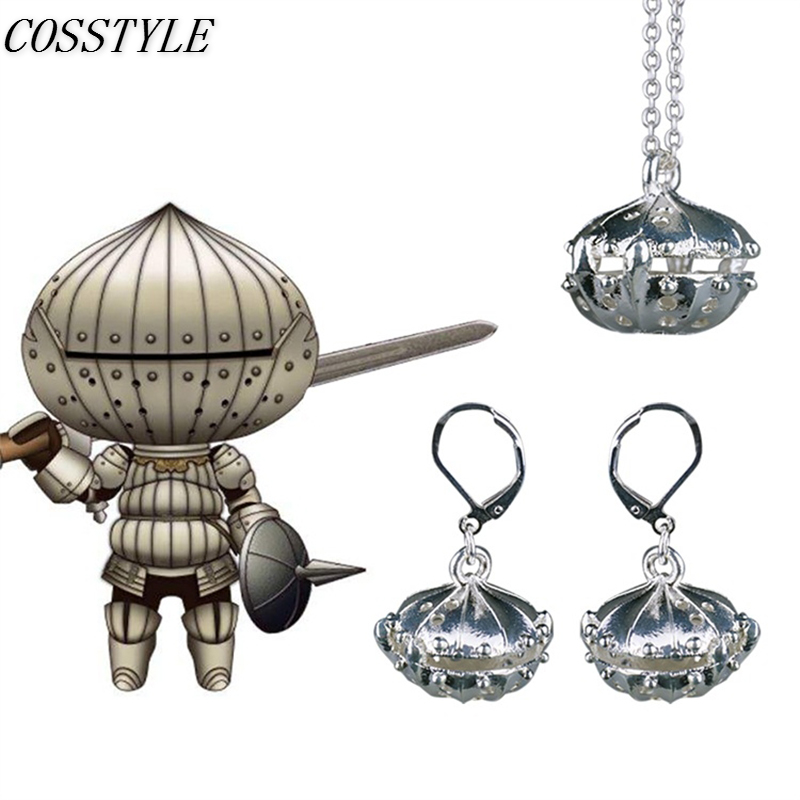 Dark Souls 3 Cosplay Accessories Adult Onion Knight Necklace Pendant Cosplay Game Stud Earring Women Halloween Party Props
