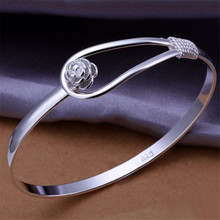 new factory direct special Valentine s gift silver color jewelry fashion women flower bangle bracelets wedding