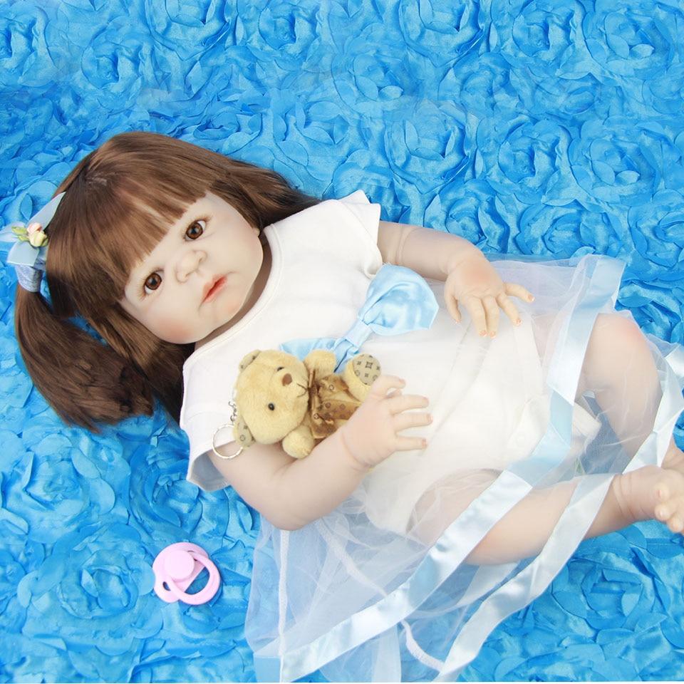 Long Synthetic hair 23'' Babies Reborn Doll Silicone Lifelike Girl Baby Dolls Full Vinyl Washable Bebe Alive Boneca Brinquedos цена