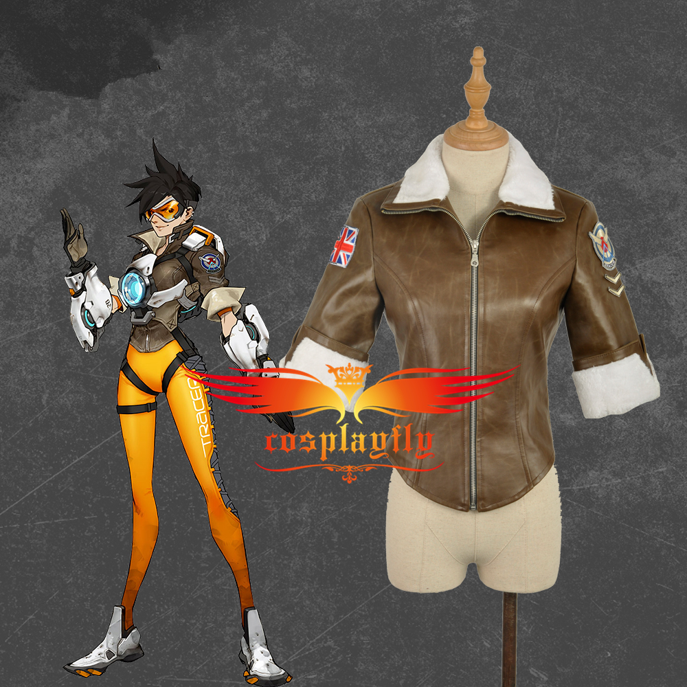 Jacket Coat Only OW Over And Watch Tracer Lena Oxton Brown Cosplay Costume For Adult Halloween Carnival Christmas