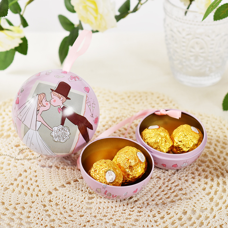 10pcs/lot Creative Beautiful Tin Wedding Candy Ball Box Colorful Sweet Round Candy Box New Special Party Decoration Gift Boxes