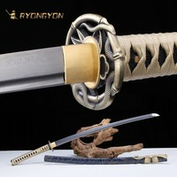 Handmade Katana Real Sword Sharp Genuine Japanese Samurai Sword Japan Ninja Sword Damascus Folded Steel Full Tang Blade 724