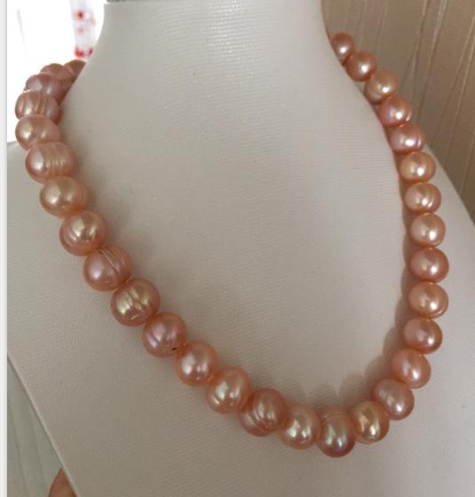 ELEGANT 12-13MM SOUTH SEA BAROQUE GOLD PINK PEARL NECKLACE 18INCH 925silverELEGANT 12-13MM SOUTH SEA BAROQUE GOLD PINK PEARL NECKLACE 18INCH 925silver