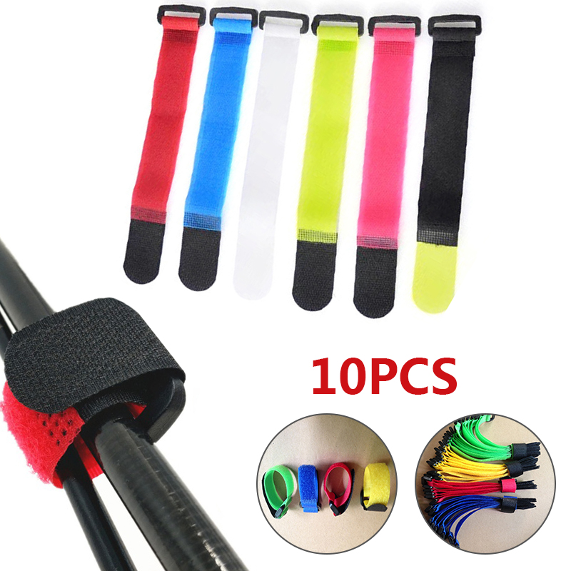10x Red Self Adhesive Hook Loop Cable Ties Fastener Strap Cord Organizer 20cm