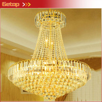 Best Price D800 X H900mm Modern Luxury Royal Empire Golden Crystal Chandeliers Duplex Stairs LED Lamp