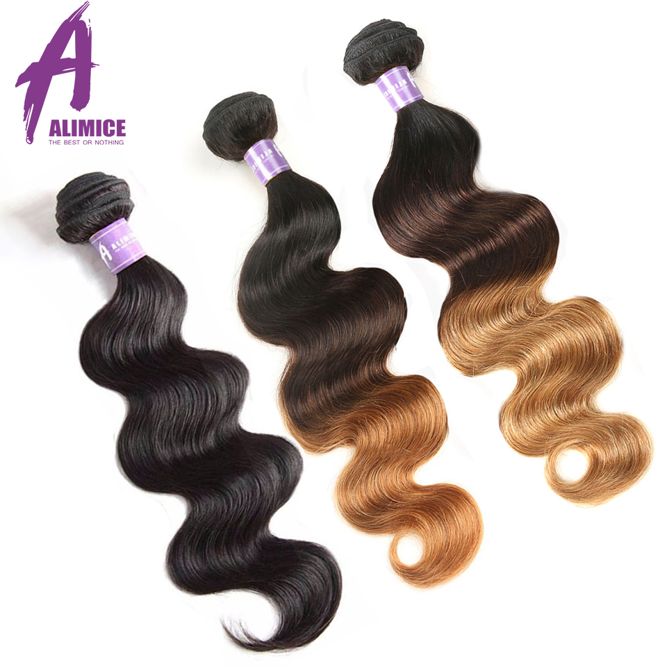 Alimice Indian Body Wave Hair Ikke-Remy Hair Bundles 1PC Natural - Menneskelig hår (for svart)