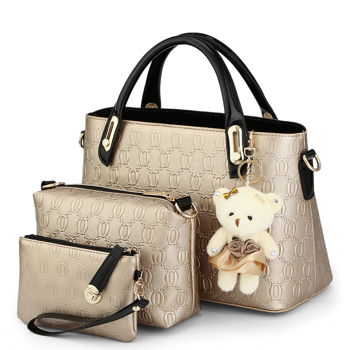 High Quality Women Bag 3 Pcs/set With bear toy Casual Embossed Handbags Crossbody bag bolsa wallet Over the Shoulder Bags tote embossed pu leather casual 3 pieces tote bag set