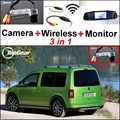 3 in1 Especial Câmera de Visão Traseira Sem Fio + Receptor + Espelho monitor de backup fácil sistema de estacionamento para volkswagen vw caddy 2 k mk2