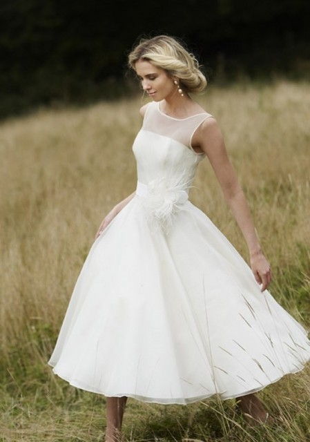 Vanme Short Wedding Dress Uk Feather Sash Illusion Neckline Girls
