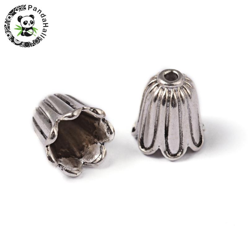 40 Antique Silver Tone 14mm Tibetan Style Bead Caps