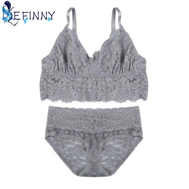 2f5c956a84 2018 Fashion Embroidery Lace Tube Top Underwear Sexy Women Bra Set Plus  Size Lingerie B Cup Ultrathin Transparent Panties Briefs