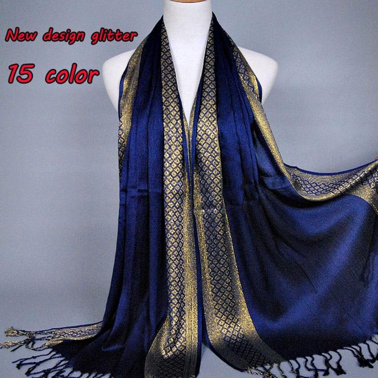 NOUVEAU design Plaine fashoin printe glitter glands coton lurex plaid bande  longue écharpe hijab musulman foulards écharpe 10 pcs lot 57fe46f0cd4