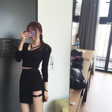55d4318af85 Korean Style Black Package Hip Skirts Gap Irregular Hem Pencil Micro Mini  Skirt(China)