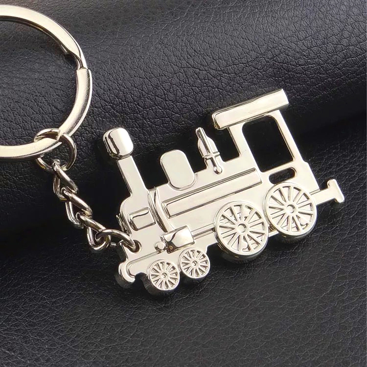 FREE SHIPPING BY DHL 100pcs lot Hot Metal Locomotive Keychains Vintage Steam Locomotive Shaped Keyrings for