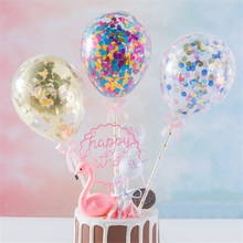 5inch Confetti Balloon Cake Topper Decoration with Straw Ribbon Table Baby Shower One Birthday Wedding Party Balloon Topper(China)