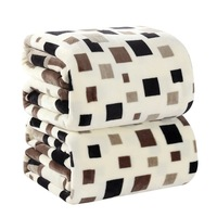 4sizes Home Textile Square Plaid Japan Style Printed 200cmX230cm Geometric Chocolate Hand Wash A Warm Flannel