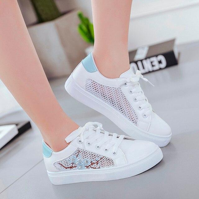 SAGACE Shoes Women's Casual Mesh Flower Bottom Hollow Single Shoes Lace-Up Ladies Booties Fashion new shoes woman 2018dec8