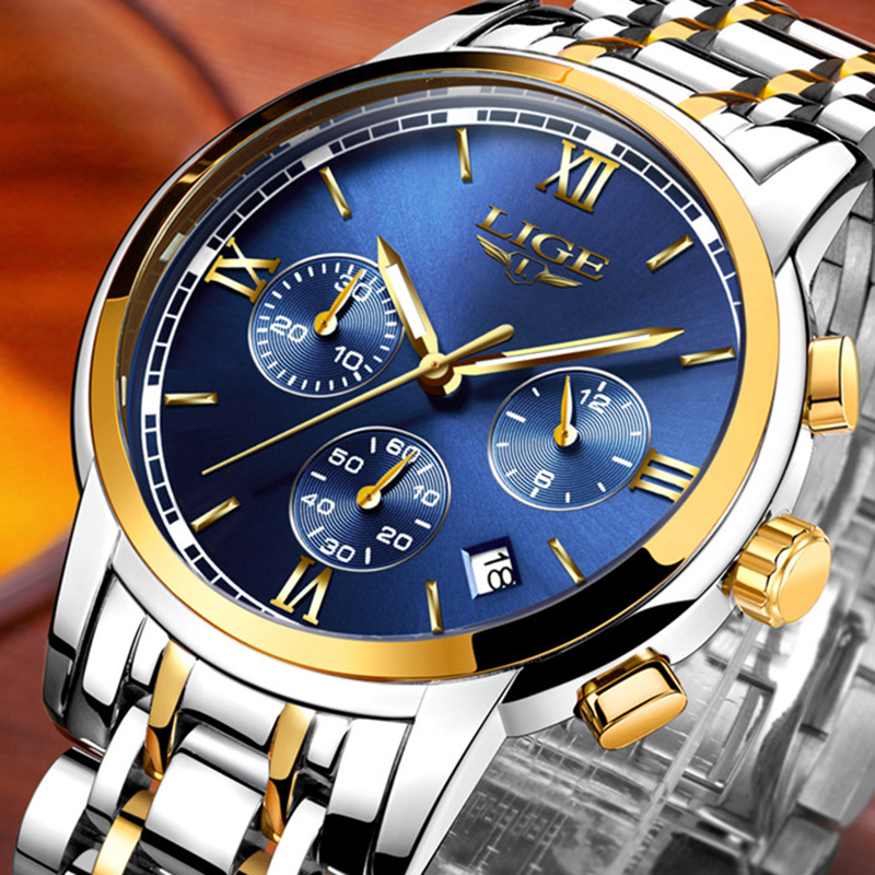 2019 <font><b>LIGE</b></font> New Watches Men Luxury Brand Chronograph Men Sports Watches Waterproof Full Steel Quartz Men's Watch Relogio Masculino image
