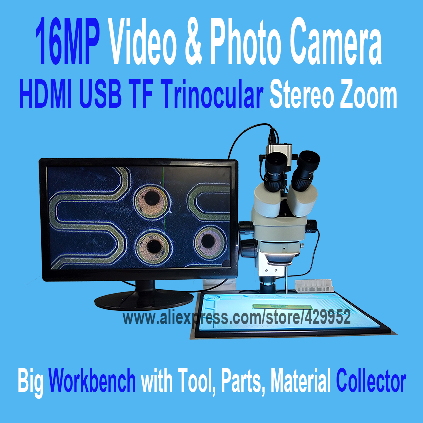 16MP 3.5-90X Soldering Trinocular Stereo Microscope Stand Lens HDMI USB Digital Electronic Camera for Repair Mobile Phone Tools
