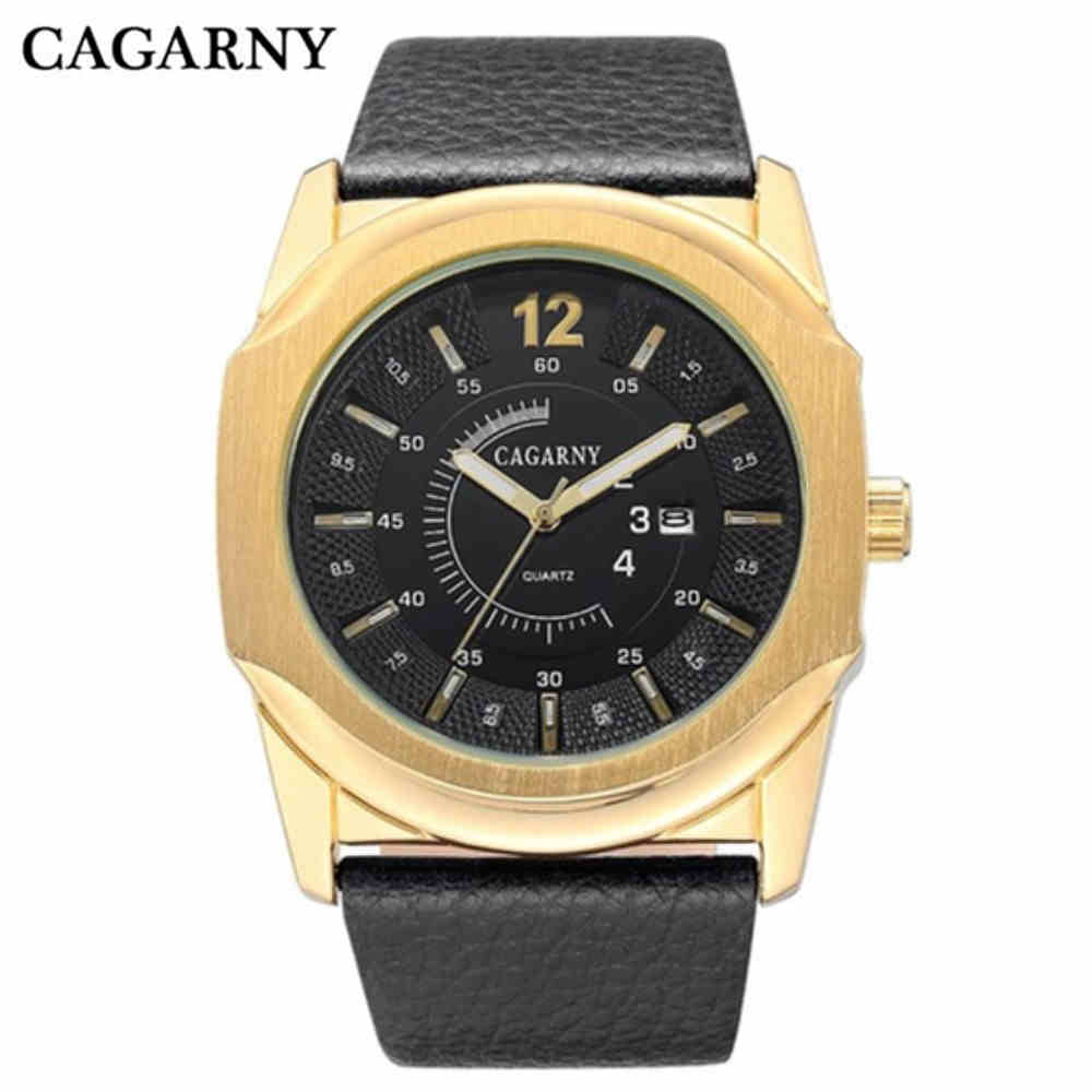 CAGARNY Men Watch Brand Stainless Steel Gold Watches Fashion Leather Strap Bracelet Wristwatch High Quality Male Casual Clocks wholesale price high quality fashion high quality stainless steel watch band straps bracelet watchband for fitbit charge 2 watch