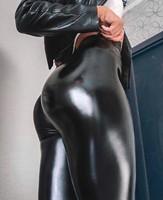 Модные штаны из искусственной кожи женские размер XXXXL плюс кожаные леггинсы женские с высокой талией тонкие эластичные леггинсы черные спо...