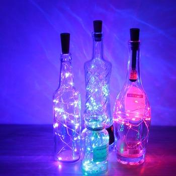 Tapón de plástico de botella de vino de 1 M/2 M con cable de cobre luces de cadena LED para Bar decoración para fiestas tapón de corcho para decoración de vino