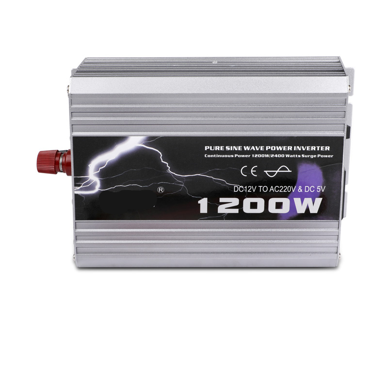Onduleur de voiture 1200 W onde sinusoïdale Pure DC 12 V à AC 220 V 50Hz onduleur chargeur convertisseur puissance maximale 2400 W alimentation de véhicule