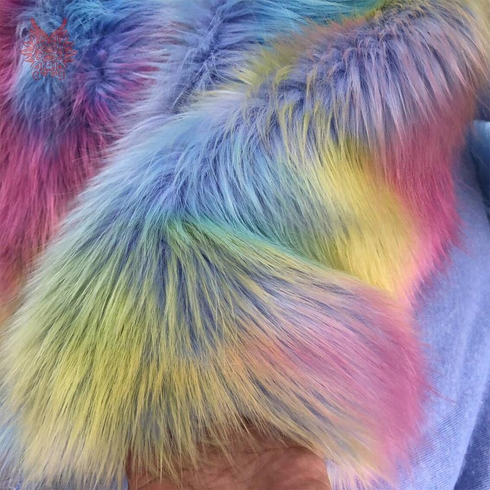 Coréen arc-en-ciel style cosplay 4cm longue fausse fourrure tissu coloré pour manteau décoratif tapis fausse fourrure tissu pelliccia SP5780