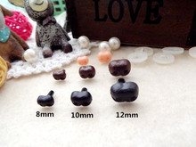 Black Plastic Dog Noses Doll Accessories 8mm / 10mm / 12mm 50pcs / lot kapal gratis dengan mesin cuci