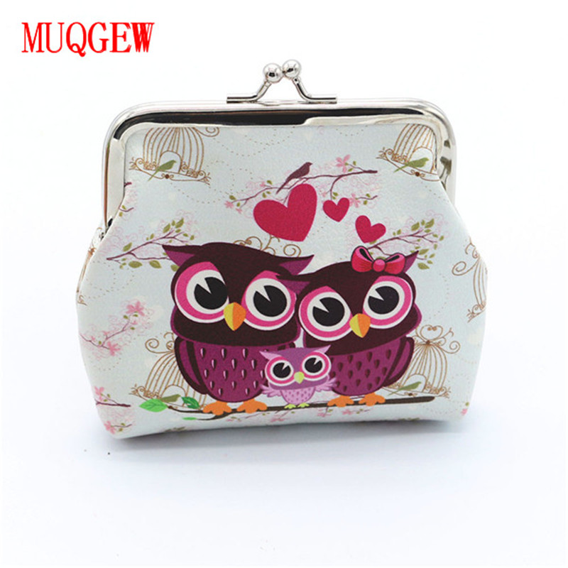 MUQGEW Fashion Women Lady Retro Vintage Cartoon Owl Animal Printed PU Leather Small Wallet Hasp Coin Purse Clutch Bag стоимость