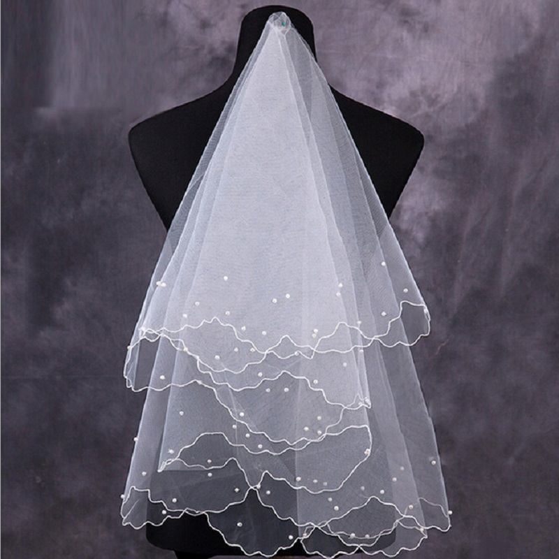 Simple And Elegent Wedding Bridal Veil Tulle White Ivory Beaded Women 2020