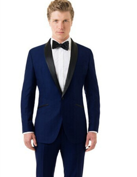 High Quality One Button Navy Blue Groom Tuxedos Groomsmen Men's Wedding Prom Suits Custom Made (Jacket+Pants+Girdle+Tie) K:114