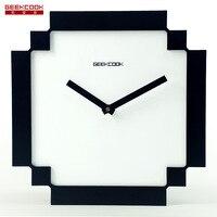 Черные и белые Pixel Мозаика Стиль настенные часы немой развертки секундомер деревянные настенные часы фабрики гостиная/Спальня/офис