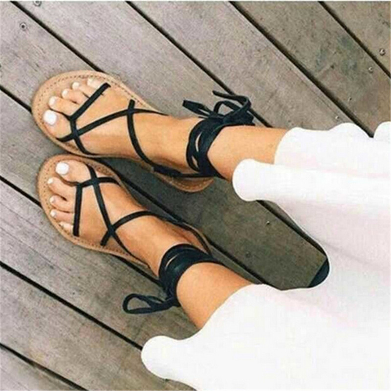 ФОТО Summer Style Ankle Tie Flat Sandals Crosscriss Rome Boho Gladiator Sandals Women Flip Flops Casual Shoes Woman Sandalias Mujer