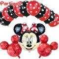 13 unids/lote mickey minnie Mouse polka dot globos de látex del helio globos foil lot mickey globos de cumpleaños de baby shower decoración niños juguetes