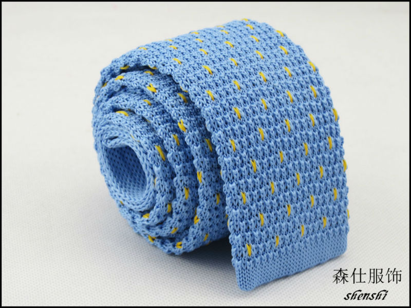 Knitted Necktiesky Blueyellow Geometric Heart Pattern Designmens