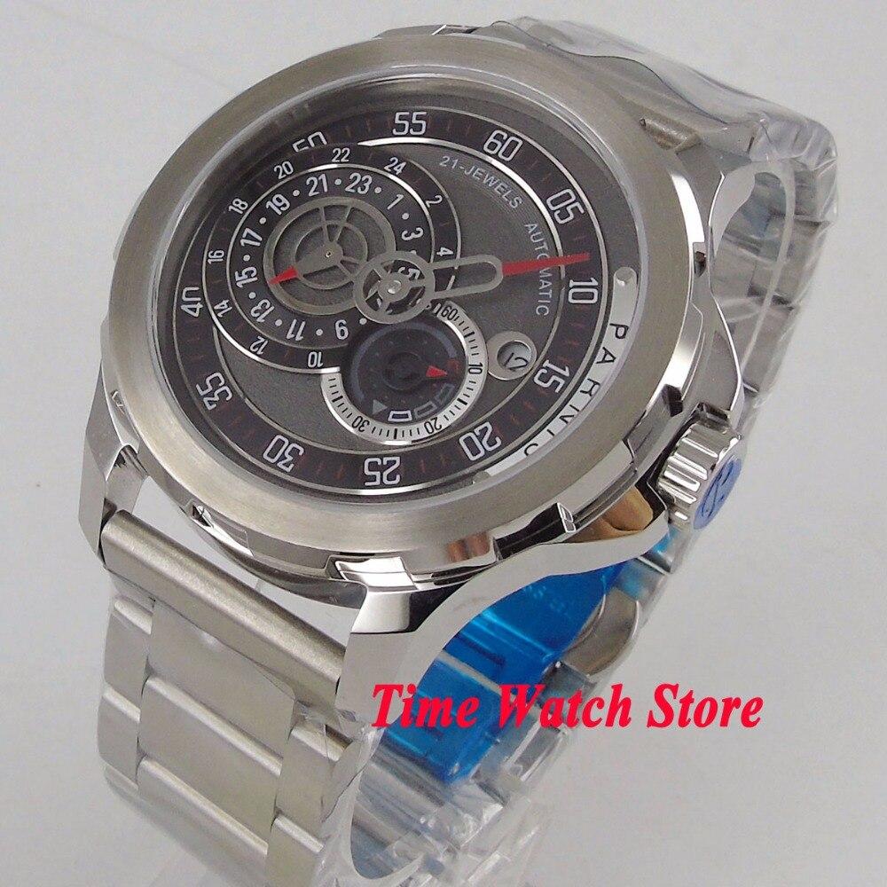 Vintage 44mm PARNIS sapphire glass วันที่ 24 ชั่วโมง 21 jewels การเคลื่อนไหวอัตโนมัติ MIYOTA นาฬิกาผู้ชาย 1075-ใน นาฬิกาข้อมือกลไก จาก นาฬิกาข้อมือ บน   1