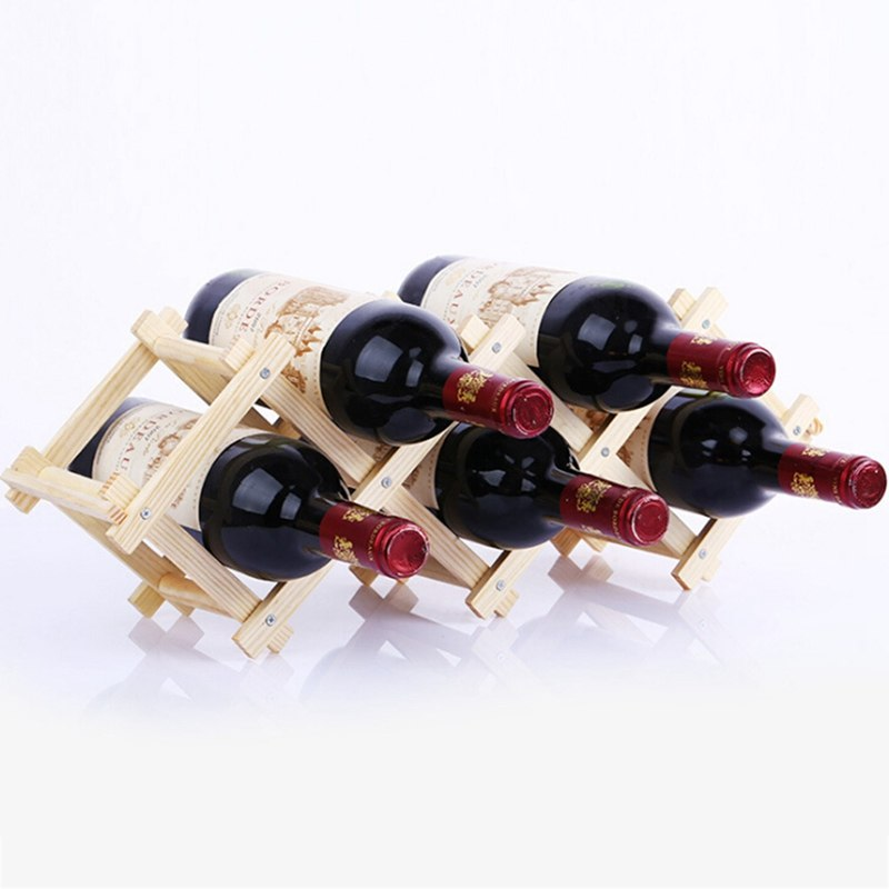 100% Waar Houten Rode Wijn Flessenrek Houder Bar Display Folding Hout Wijnrek Alcohol Neer Care Drinkfleshouders