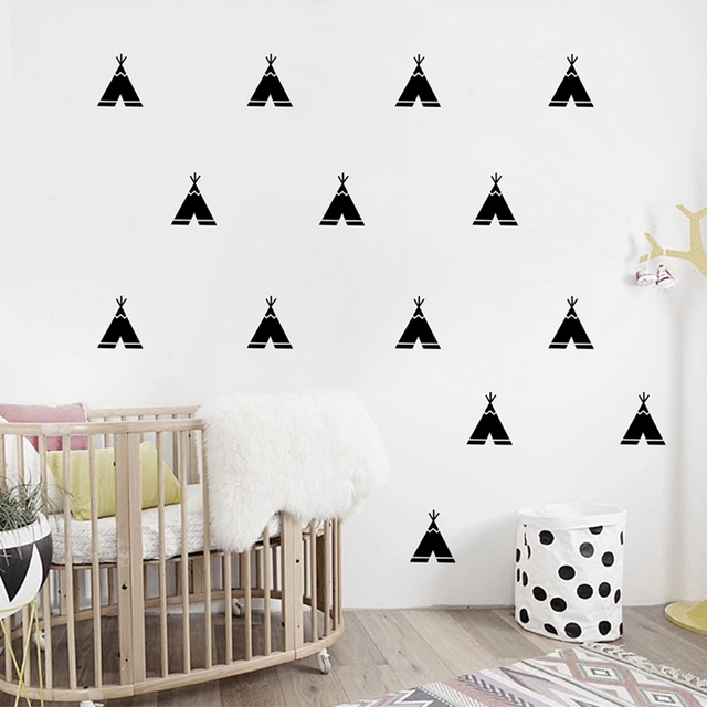 Little Teepee Wall Stickers Nordic Style Vinyl Wall Decals, Removable Child  Room Decoration Art Modern