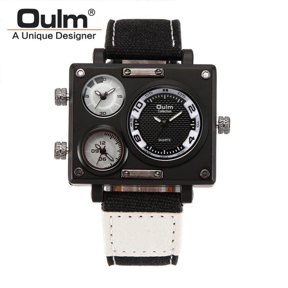 OULM 3595 Quartz Watches Men Brand Rectangle Fashion Sports Watch Three Time Zone Men's Wristwatch Male Clock oulm 3595 quartz watches men brand rectangle fashion sports watch three time zone men s wristwatch male clock