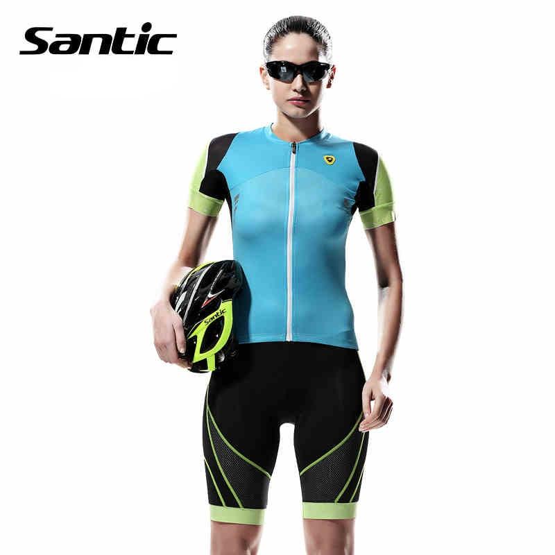 ФОТО Santic Cycling Short Sleeve Sets High Quality Summer Women Cycling MTB Shorts Padded Gel Bike Bicycle Cycling Jersey L5CT048B