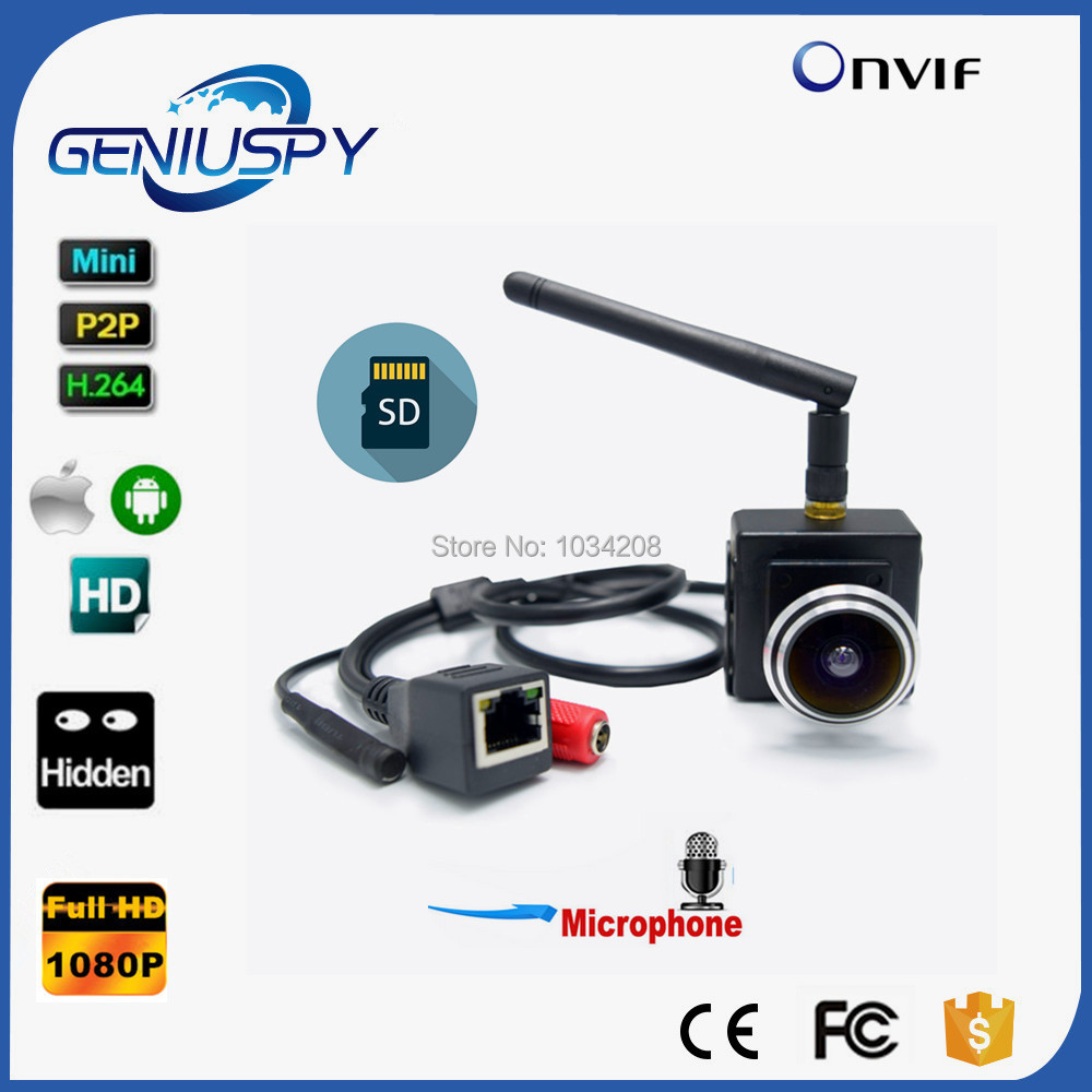 1080P Audio Wireless Webcam 1.78mm Fisheye Lens Mini IP Camera Network IP Wifi Camera Wi-Fi CAMHI With Microphone& SD Card Slot fpv 1 2ghz 100mw 4ch wireless audio